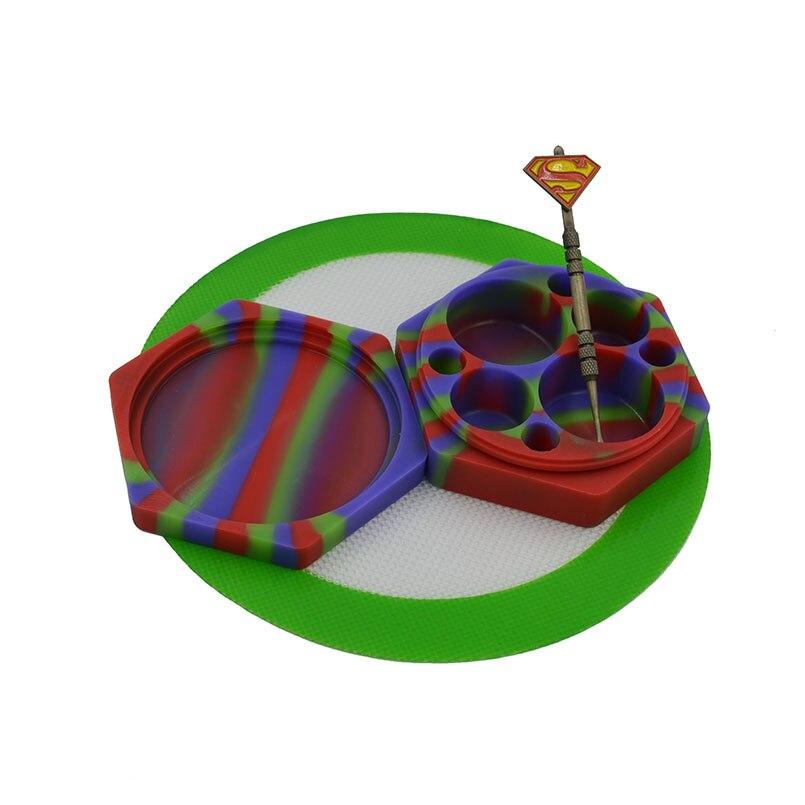 110ml hexágono silicone cera/butano/recipiente de óleo liso dab cera jar + antiaderente dabber escultura dab ferramenta + silicone cozimento hash esteira almofada