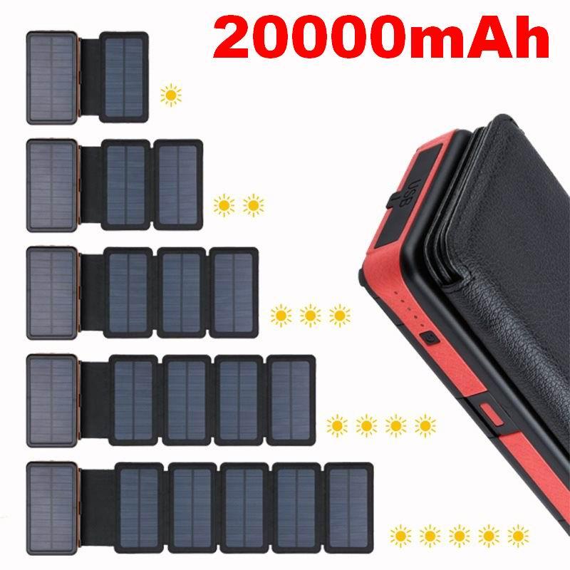 Foldable Portable Solar Power Bank 20000mAh Waterproof Solar Panel Charger External Battery Powerbank For Xiaomi iPhone Samsung