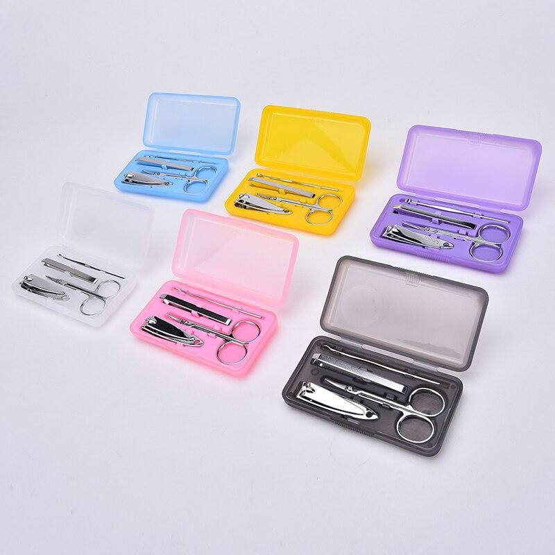 4 Pçs/set Prego Set Clipper & Pedicure Manicure Tesoura De Unha Em Aço Inoxidável Foice Colher de Ouvido Ferramentas de Beleza Do Prego