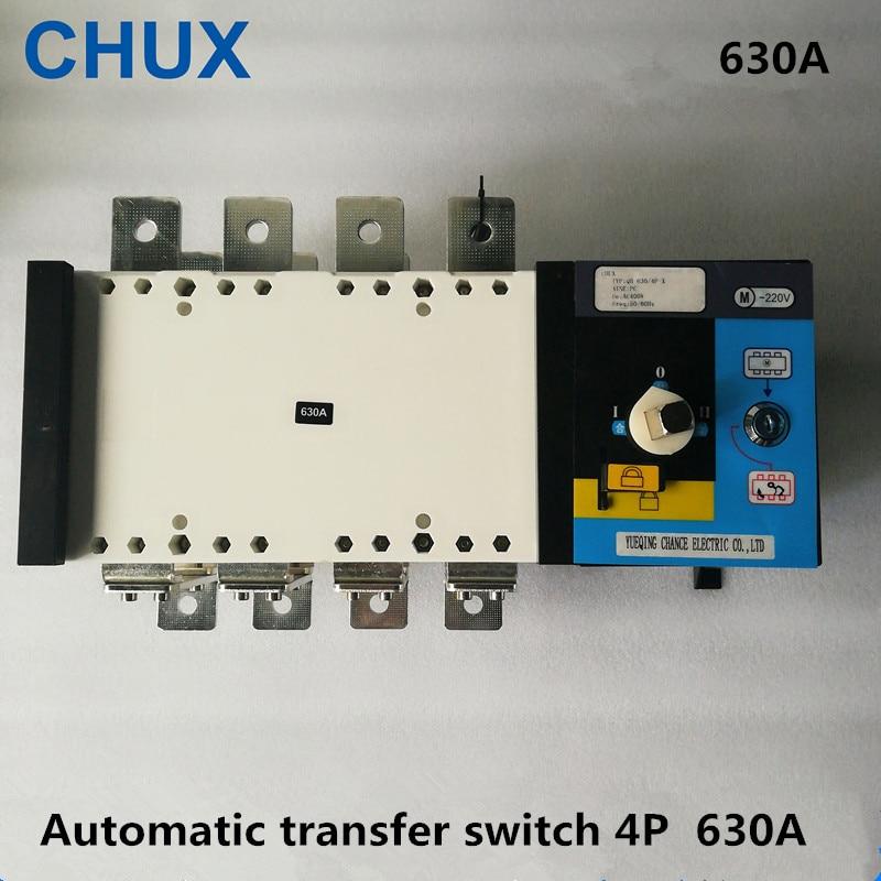 4P 630A السلطة المزدوجة النقل التلقائي التبديل PC الصف 380v 3 مراحل قاطع الدائرة العزلة نوع 630A ATS