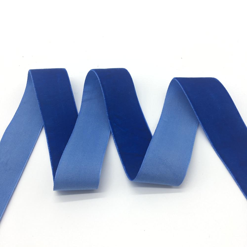 "3 yards/lot 1""(25mm)Wide Blue Velvet Ribbon Headband Clips Bow Wedding Decoration"