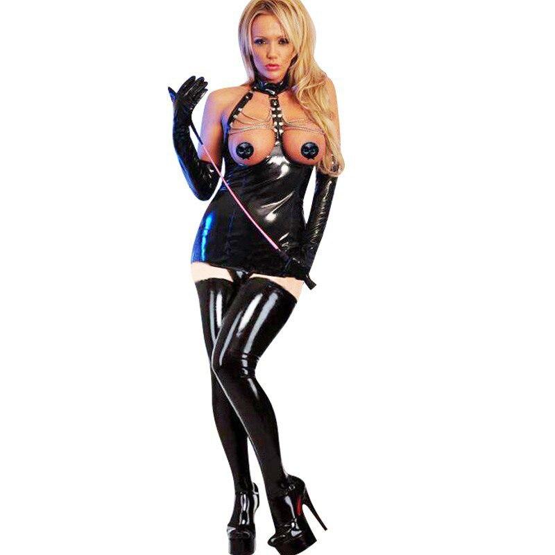 Сексуальное платье на молнии из искусственной кожи, блестящий из искусственной кожи, с цепочкой, в стиле панк, Бандажное, с открытым бюстом, ...