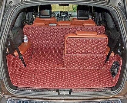 ¡Alfombras de calidad! Juego completo de esteras para maletero para Mercedes Benz GL 350 X166 7 asientos 2016-2013 alfombra duradera de forro de carga para GL350, Envío Gratis