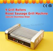 Machine de grillage de rouleau de Hotdog dacier inoxydable Machine commerciale de grillage de saucisse fabricant de chien chaud 9 rouleaux 1800-Watt CE à faible bruit