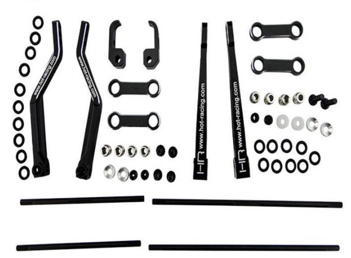 Hot Racing, Axial, RR10, Bomber, aluminio, frontal/barra estabilizadora trasera, Kit RRT331X01