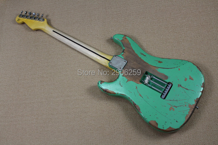 Custom Shop 100% handmade aged st guitar high quality surf green st relic guitar free shipping limited issue enlarge