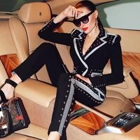 2019 new women black two piece long sleeve fashion jumpsuit high quality vestido bandage celebrity evening party jumpsuits