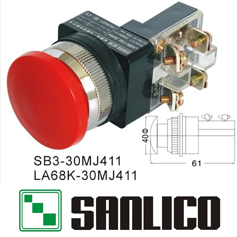 Interruptor de parada de emergencia momentáneo cabeza de hongo interruptor de botón SB3 (LA68K KS PB)-30MJ411 resorte de retorno 30mm