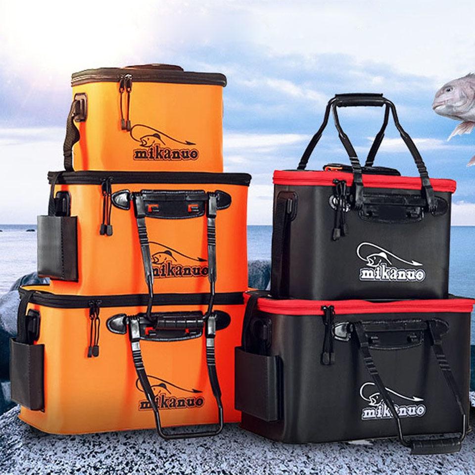Cubo de pesca con cremallera portátil, bolsa de pesca plegable de EVA para exteriores, cubo para peces vivo, 5 tamaños, bolsa de pesca para acampar, senderismo