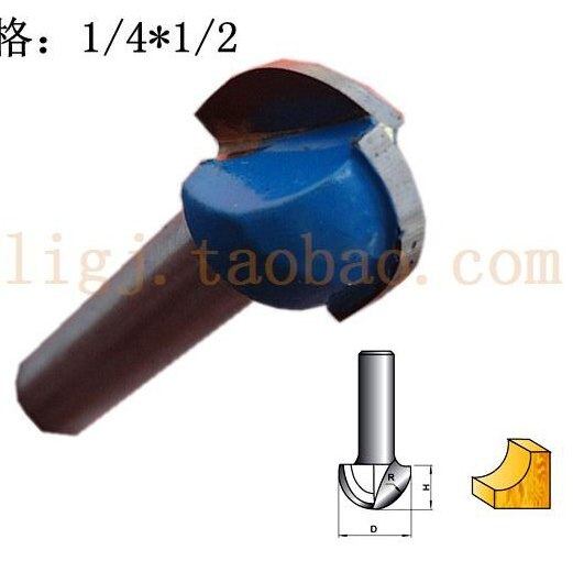 1/2-Inch Diameter Round Nose Router Bit with 1/4-Inch Shank