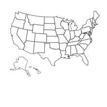 Outline USA map, vinyl art sticker for school, classroom, library wall art deco wall sticker DT13