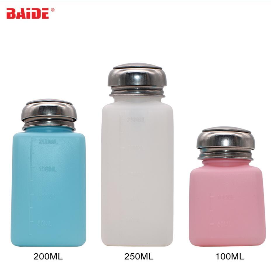 Venta al por mayor 100ml/200ml/250ml líquido Alcohol prensa quitaesmalte dispensador botella de bombeo para solvente aceite 120 unids/lote