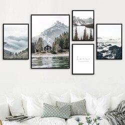 Туман риф заснеженное горное озеро сосновый лес настенное искусство холст живопись плакаты на скандинавскую тему и принты настенные карти...