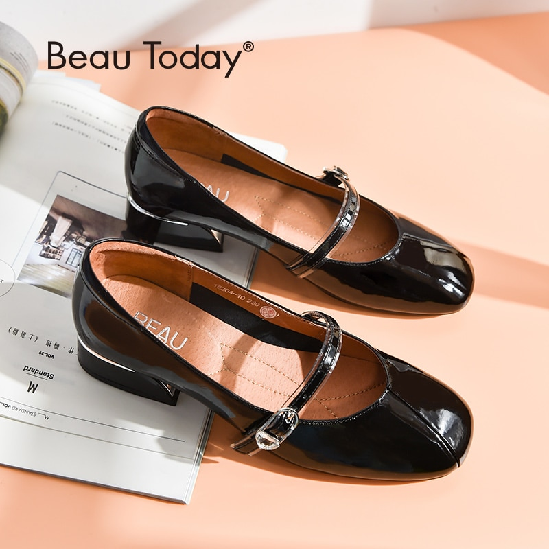 BeauToday ماري جين أحذية المرأة براءات جلد البقر مربع اصبع القدم مشبك حزام العلامة التجارية جديد سيدة زلة على الشقق اليدوية 18204