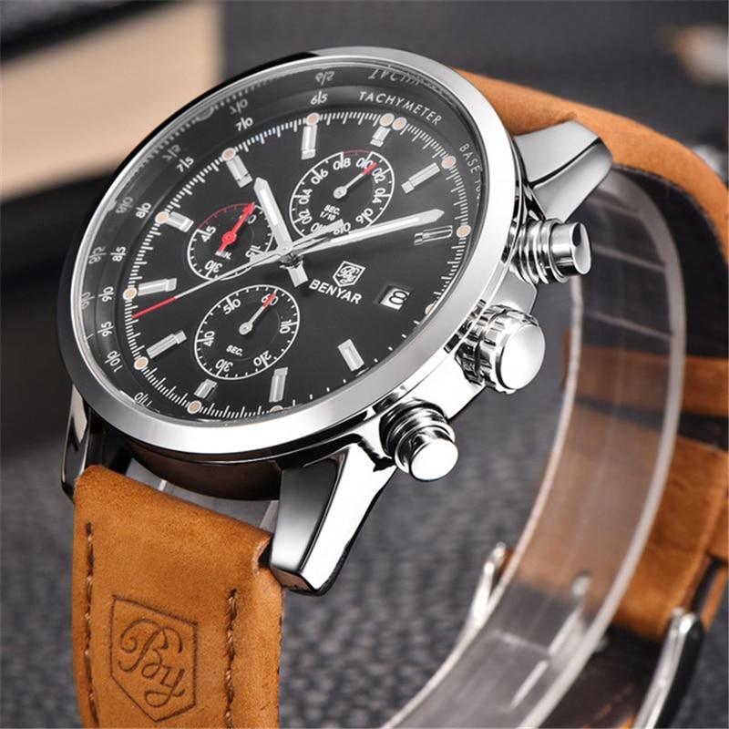 BENYAR Brand Sport Men Watch Top Luxury Male Leather Waterproof Chronograph Quartz Military Wrist Clock saat