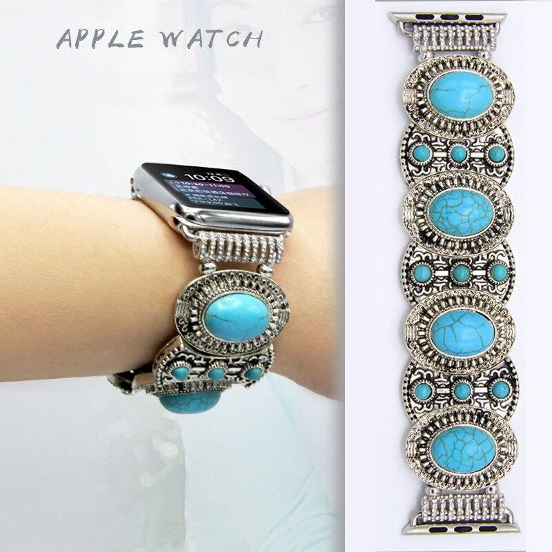 Alta qualidade Natural turquesa faixa de Relógio cinta Para Apple 4/3/2/1 Mulheres Do Vintage pulseira de pulso para iwatch 44/42/40/38mm Accessori