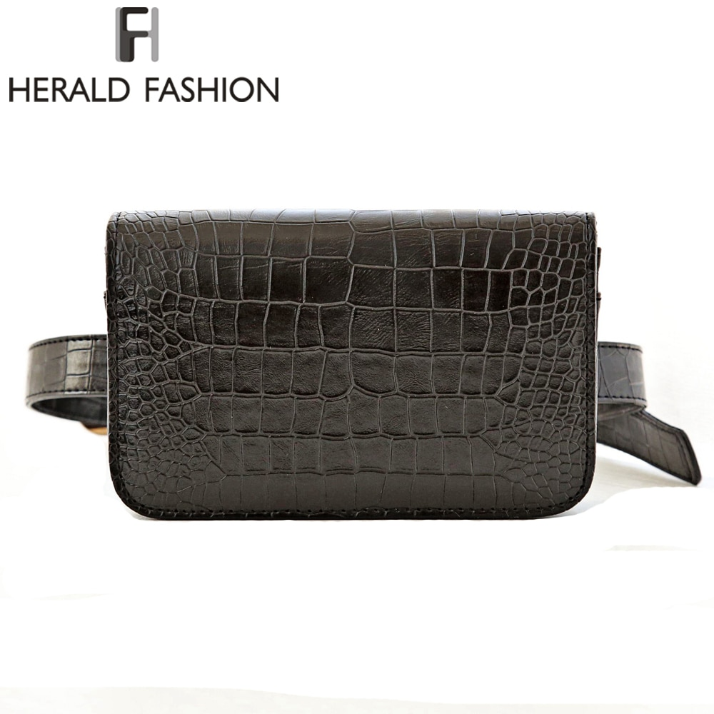 Herald moda mujer cinturón bolsa cocodrilo Pu cinturón paquete cintura bolsa pequeña mujer bolsa de viaje cintura Paquete de bolsas
