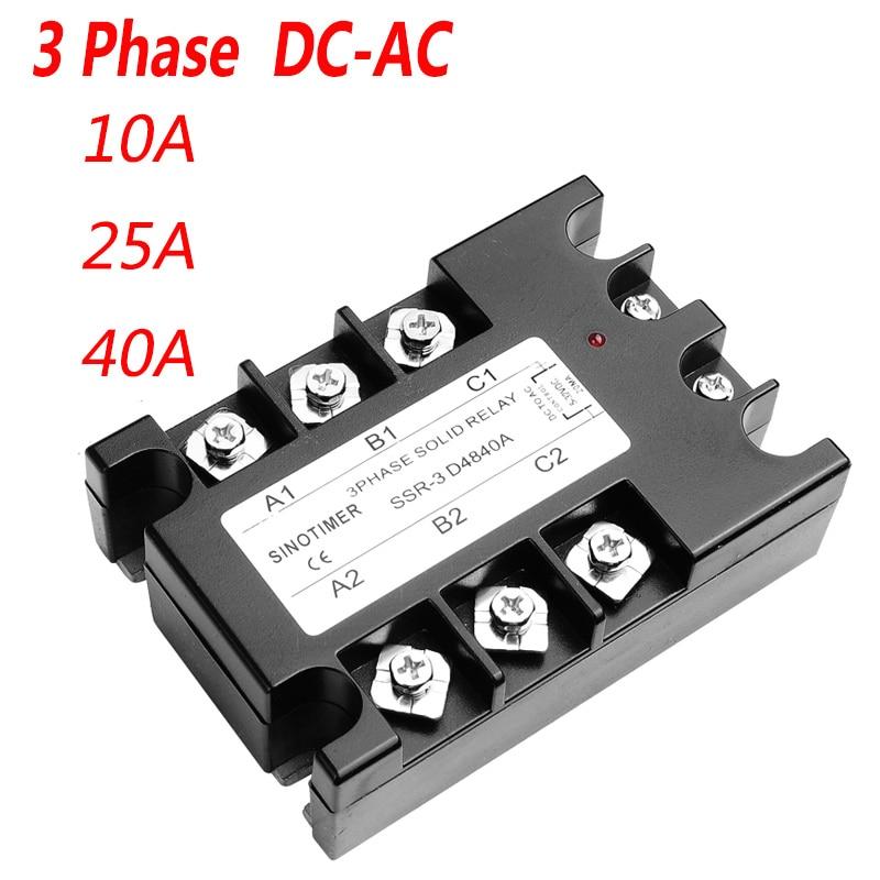 40DA AC salida 3 fases relé de estado sólido 3-32V DC a 30-480V AC 10A 25A módulo interruptor relé relais DC-AC
