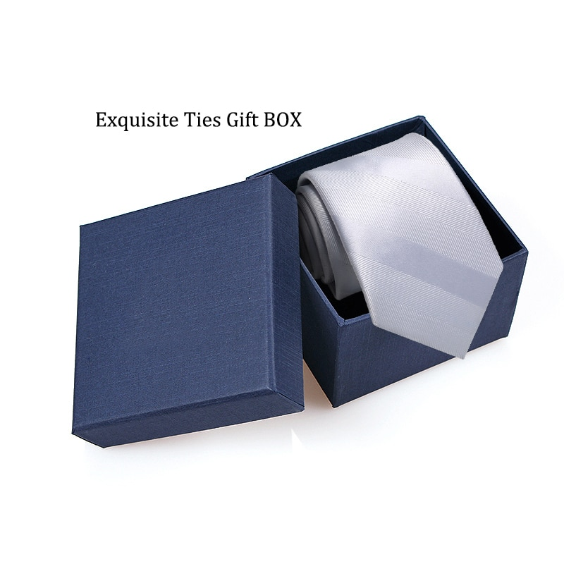 2019 New Classic Silver Striped Ties for Men Jacquard Business Formal 7cm Necktie Wedding Mens Ties Corbatas with Tie Gift Box