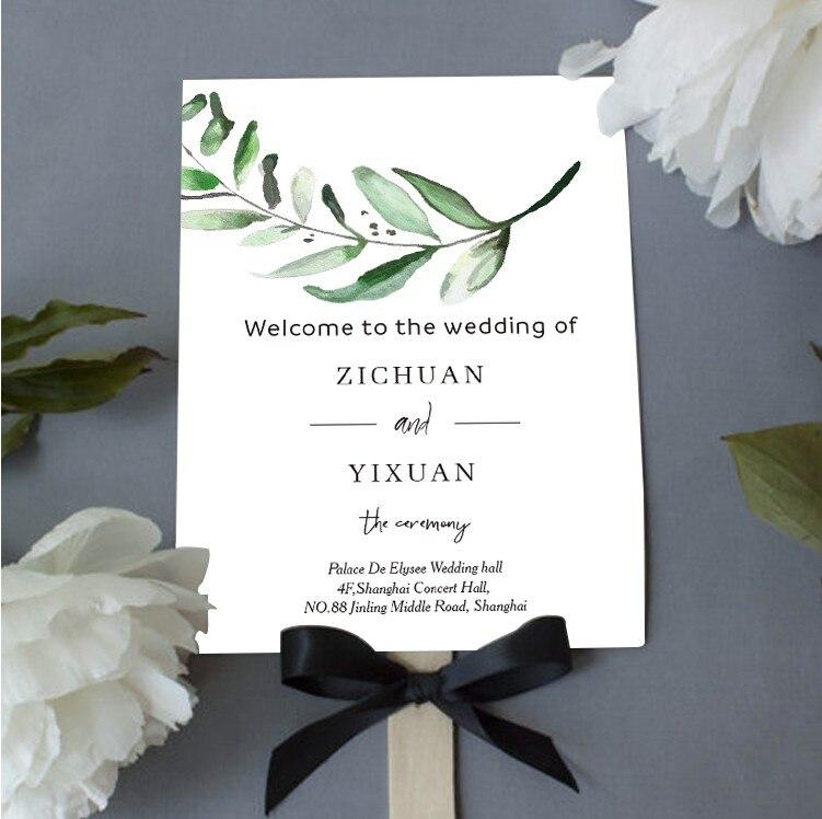 شحن مجاني 30 قطعة حفل زفاف لصالح مروحة يد ورقية مخصصة شخصية القائمة برنامج جدول بطاقة صور الدعامة هدية للضيوف