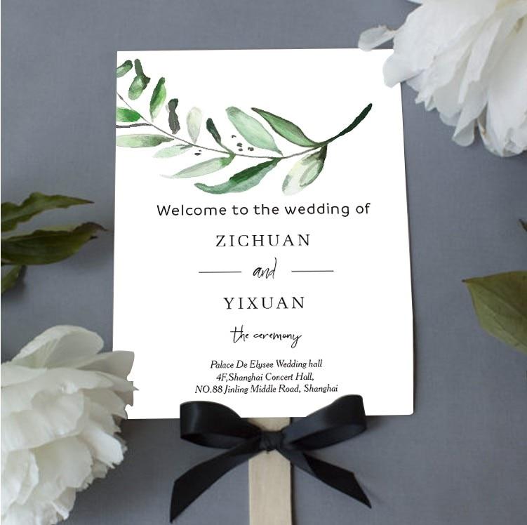 Envío Gratis, 30 Uds., recuerdo de boda, abanico de papel personalizado personal para fiesta, menú, programa, tarjeta, foto, accesorio de regalo para invitados