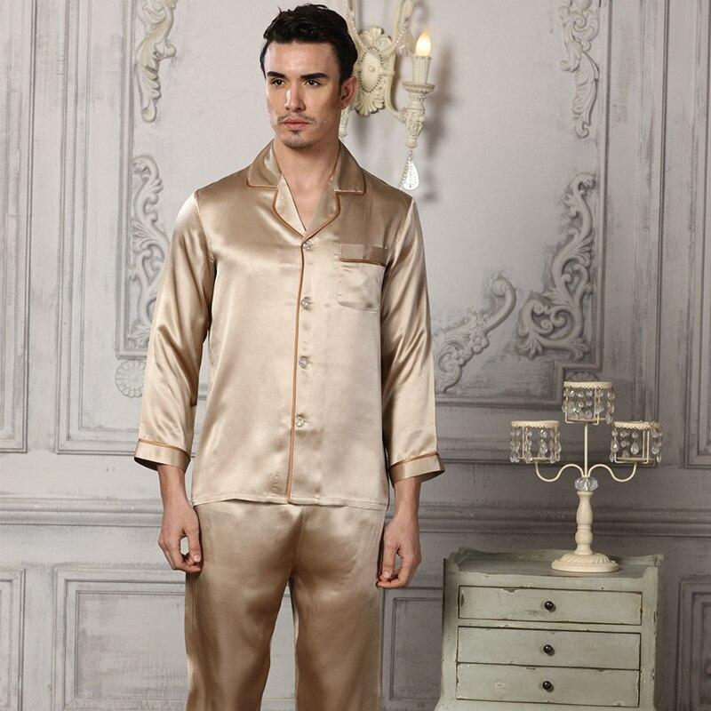 2020 новый натуральный шелк пижамы мужские из двух частей комплекты 100% 25 шелкопряд шелк одежда для сна мужские удобные дом одежда 16195