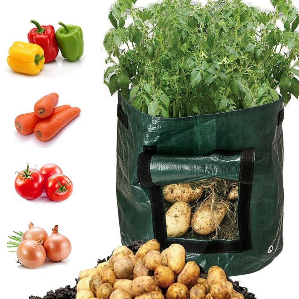 Plantar vegetales creciente bolsa DIY patata, zanahorias cebollas crecen plantador espesar plantar bolsas de contenedores con mango Maceta de jardín
