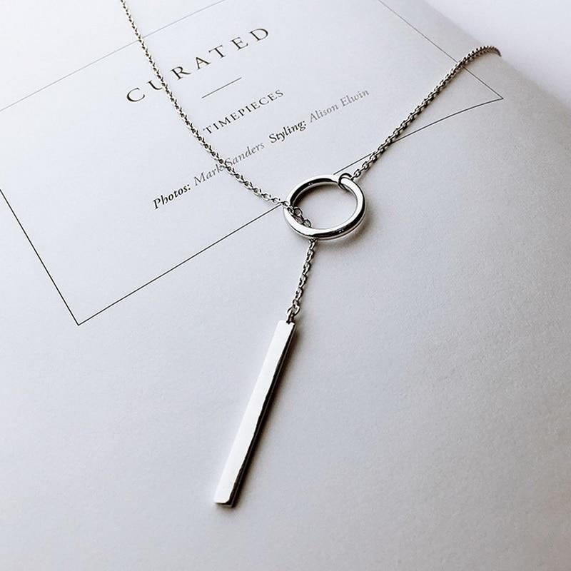 Xiyanike vintage 925 prata esterlina jóias círculo tira longa corrente pingentes & colares de prata esterlina gargantilha colar vns8002
