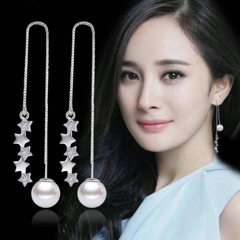100% 925 sterling silver NEW arrivals fashion pearl jewelry ladies long stud earrings wholesale Anti allergy