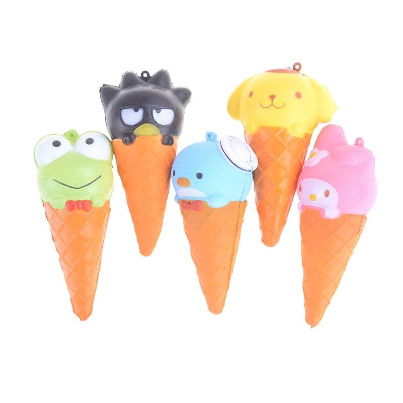 JINHF 10CM Jumbo Animal helado Squishy Slow Rising Kawaii dibujos animados suave apretón pan correas juguetes regalos de navidad