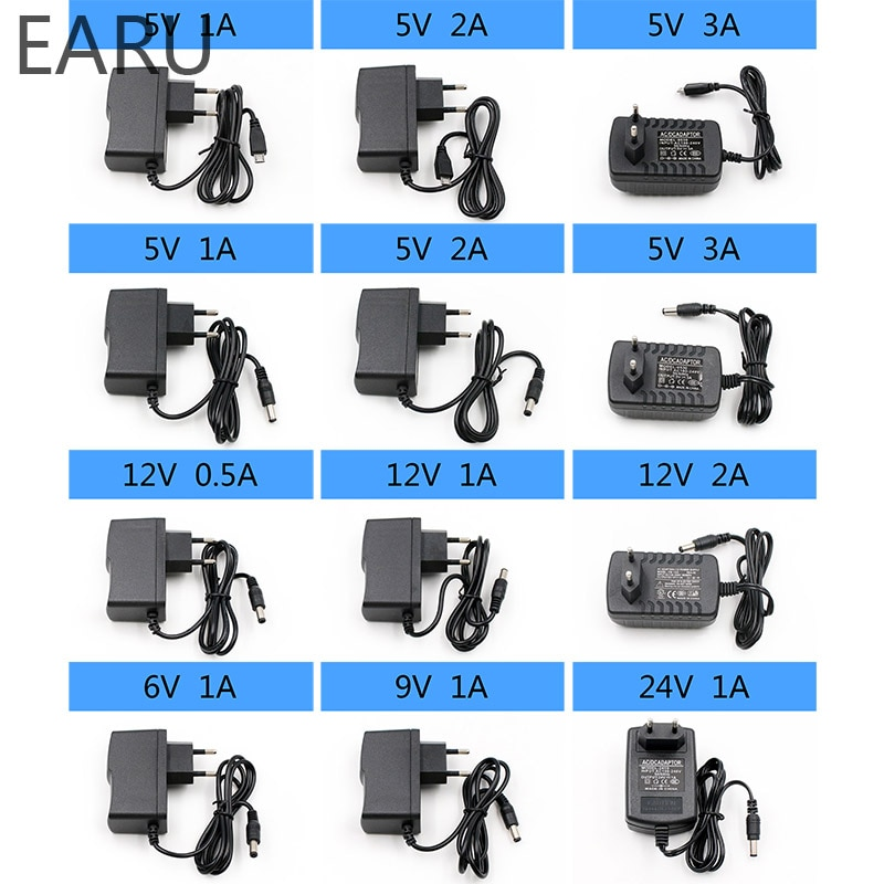 1 шт. 100-240 В переменного тока в постоянный ток адаптер зарядного устройства 5 в 6 в 9 в 12 В 24 В 0,5a 1A 2A 3A штепсельная вилка европейского стандарта 5,5 мм x 2,1 мм Светодиодная лента USB для телефона