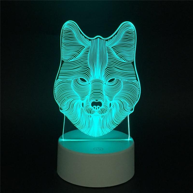 La plante et lanimal Totem LED 3D illusion veilleuse avec interrupteur tactile acrylique 7 couleurs auto changement lampes pour déco lampe de table RGB