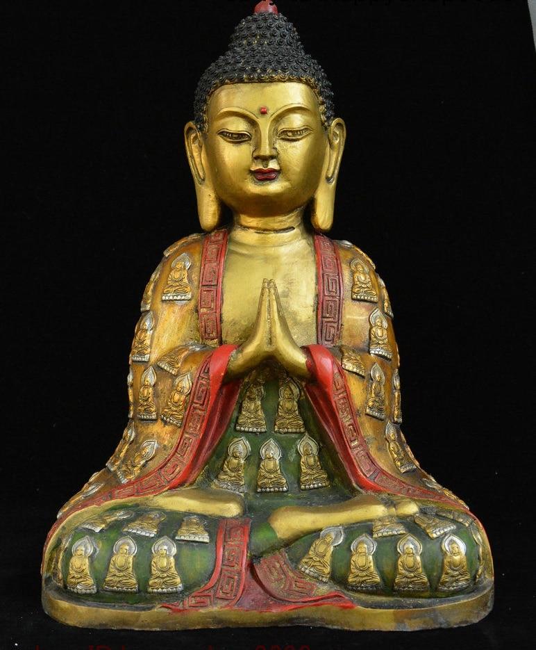 "15 ""Tibet Bronze cor Desenho Robe de Buda Shakyamuni Amitabha Buda Deus Estátua"