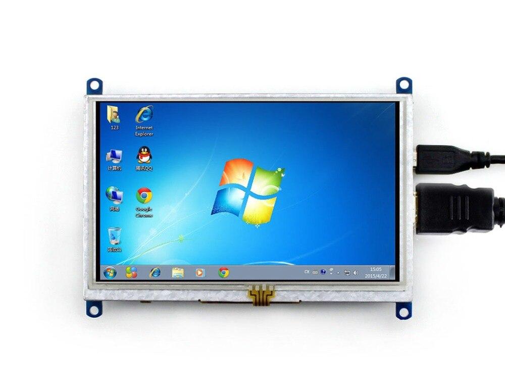Waveshare 5 pulgadas HDMI LCD (B) 800*480 resolución pantalla táctil resistiva para Raspberry Pi BB negro Monitor de ordenador soporta Win10