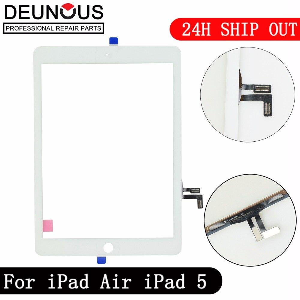 Novo para ipad ar 1 ipad 5 toque digitador da tela sem botão casa frente display de vidro substituição do painel toque a1474 a1475 a1476