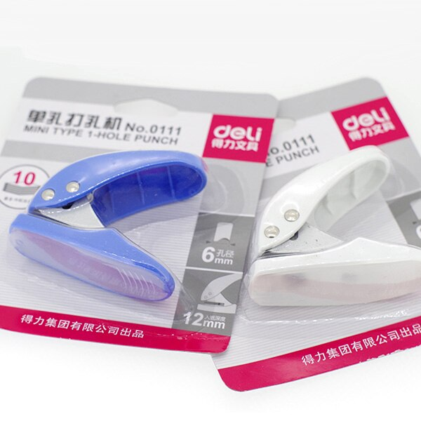 Mini perforadora manual deli 0111 tamaño de bolsillo portátil de hoja suelta diy 6mm color estándar