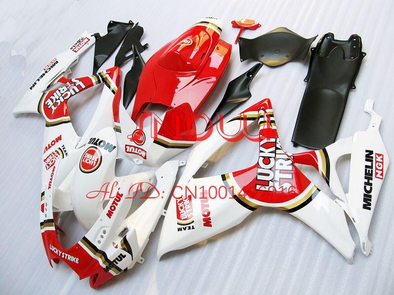 Vermelho/Branco Sorte para SUZUKI GSX R600 R750 GSXR 06 07 600-750 GSXR600 GSXR750 K6 GSX-R600 GSX-R750 06 07 2006 2007 Kit Carenagem