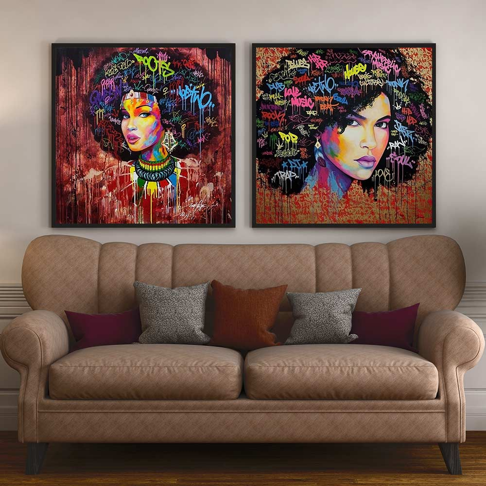 Pared de Graffiti Poster impresiones abstractas Afro chica lienzo pintura mujer afroamericana imagen para sala de estar decoración del hogar
