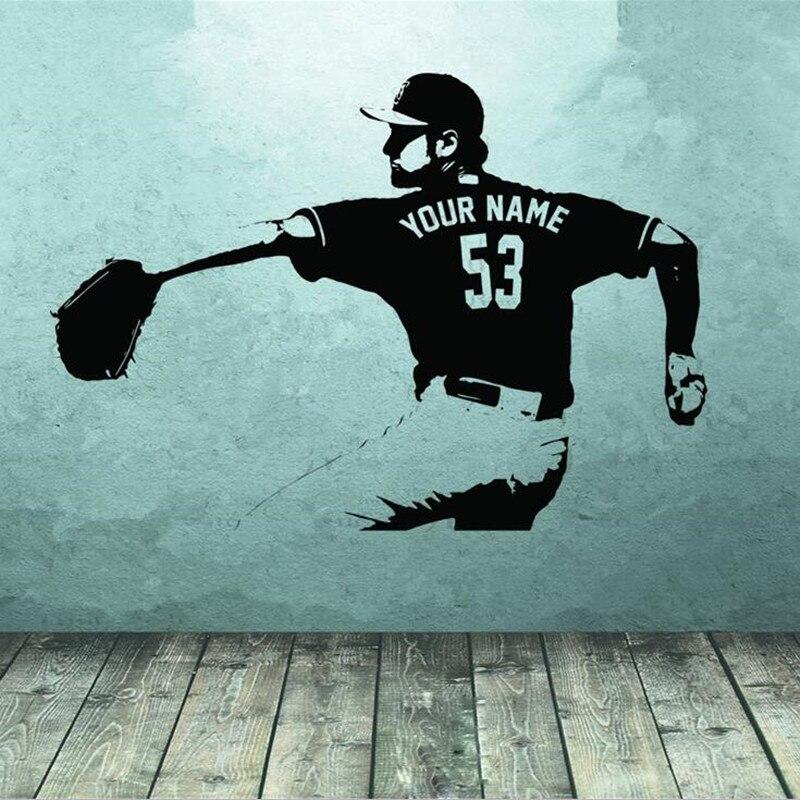 Pegatina artística para pared de jugador de béisbol, elige el nombre, número personalizado, decoración de pared para el hogar, pegatinas para habitación de niños, dormitorio de niño A186