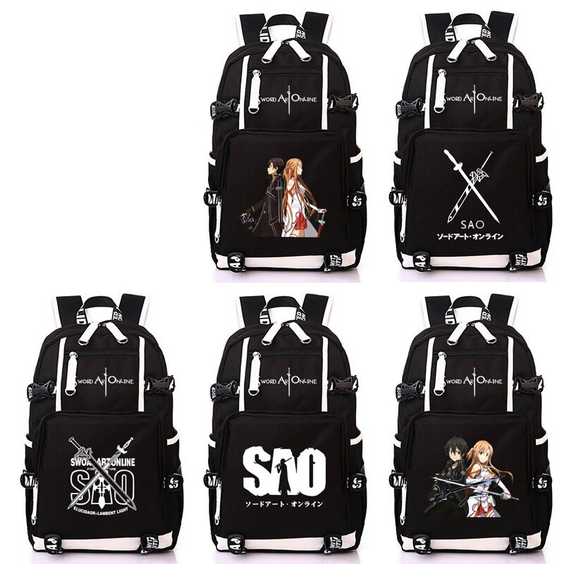 Wo-حقيبة ظهر مدرسية للأولاد والبنات ، حقيبة سفر ، سيف أنيمي ياباني ، فن على الإنترنت ، ساو ، حقيبة مدرسية