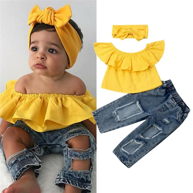 1-6T Toddler Kids Baby Girls Fashion Clothes set Ruffles Crop Top T-shirt Denim Jeans Pants Cute lovely Streetwear