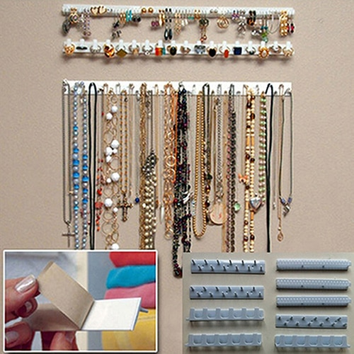 New 9 in 1 Adhesive Paste Wall Hanging Storage Jewelry Hooks Jewelry Display Organizer Earring Ring Necklace Hanger Holder Stand