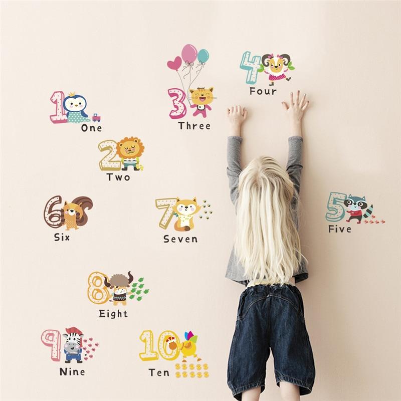 Наклейки на стену с английскими цифрами в виде животных для детской комнаты, Наклейки на стены, алфавит, подарок на день рождения для детей