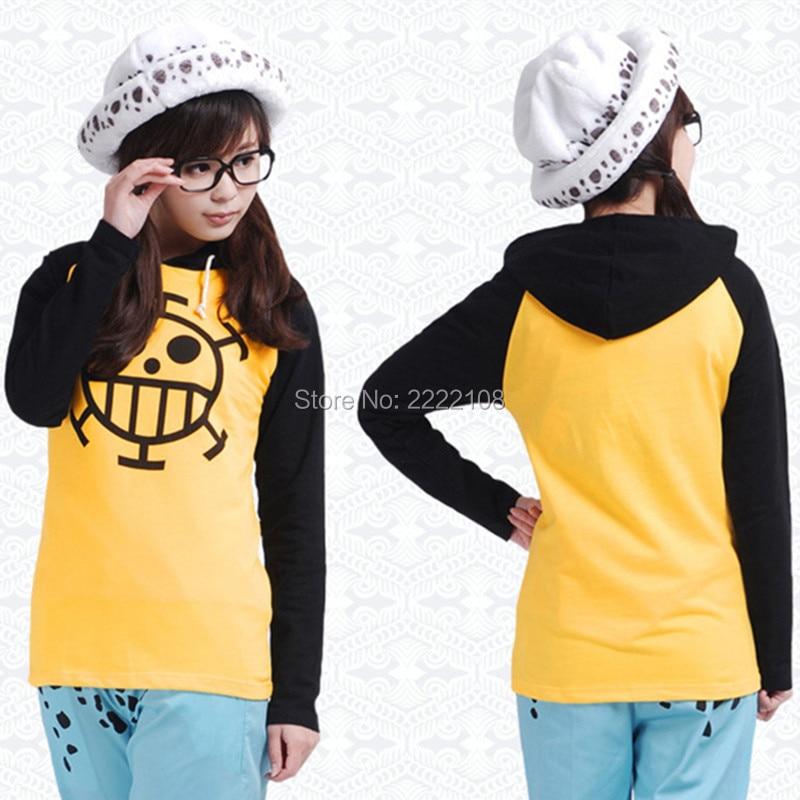 2018 Anime One Piece Trafalgar Law Cosplay Costume Thin/Thick Jacket Unisex Yellow Casual Hoodie Coat Sweatshirts,Free shipping