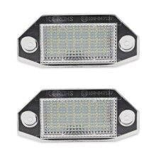 2 uds LED para matrícula de coche bombilla de luces para Mondeo MK3 2000-2007 la puerta 4/5 12V blanco 24SMD libre de Error luces de matrícula