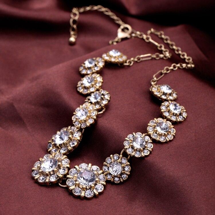 Винтажные хрустальные цветы, короткие ожерелья и подвески, новый дизайн, элегантные вечерние ювелирные изделия для женщин, оптовая продажа,...