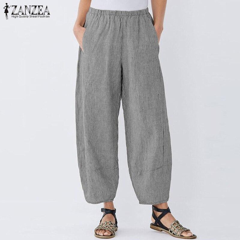 ZANZEA Plus Size Women Pants 2020 Ladies Casual Pockets Stripe Pantalon Full Length Harem Trousers Elastic Waist Office Pants