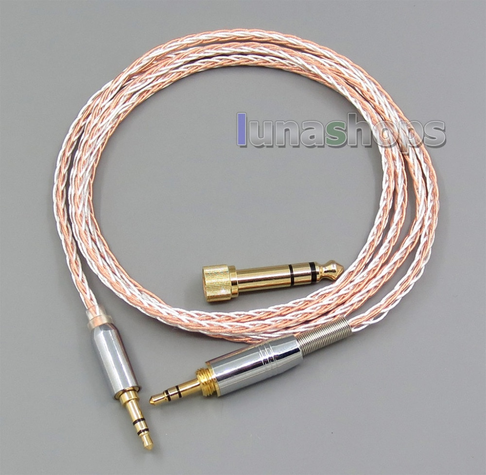 3.5mm 6.5mm Male To Male 800 Wires Soft Silver + OCC Alloy AFT Earphone Headphone Cable LN005614
