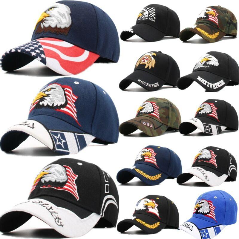 Bandera Americana EUA águila calva gorra de béisbol patriótica bordado ajustable