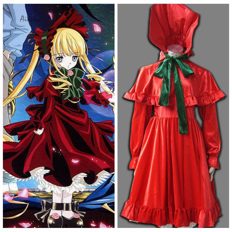 Ahot venda quente traje frete grátis rozen maiden anime shinku halloween cosplay para adulto traje e traje do miúdo
